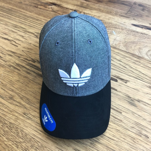 NWT Adidas Originals Black Chambray   Suede Hat 431110d44744